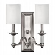 Sussex Double Wall Light in Brushed Nickel complete with White Fabric Shades - HINKLEY HK/SUSSEX2